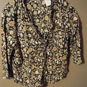 Flowered Ruffled Blouse by White Stag Size XL